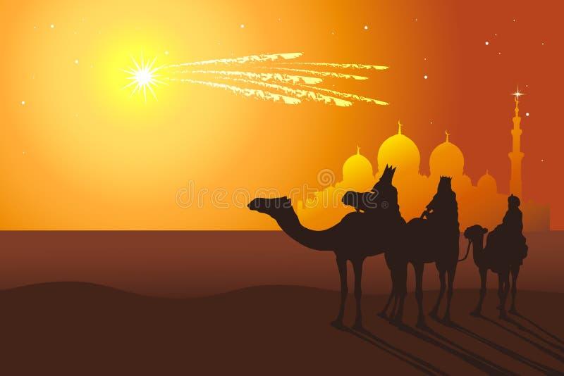 Trzy królewiątko przejażdżki wielbłąda od Orientalnych krajów ilustracji
