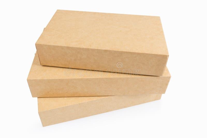 Trzy Kraft papierowego pudełka odizolowywającego obraz stock