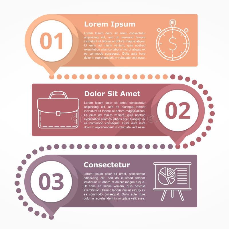 Trzy kroków diagram ilustracja wektor