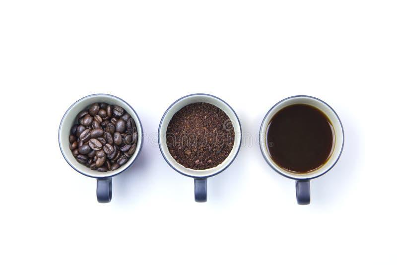 Trzy kroka odizolowywającego na białym tle kawowy przygotowanie zdjęcie royalty free