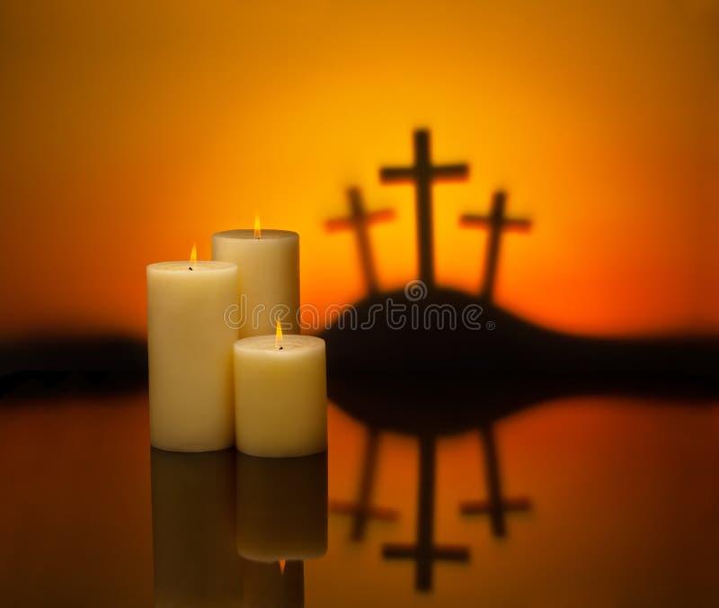 Trzy krzyż świeczki nadzieja fotografia royalty free
