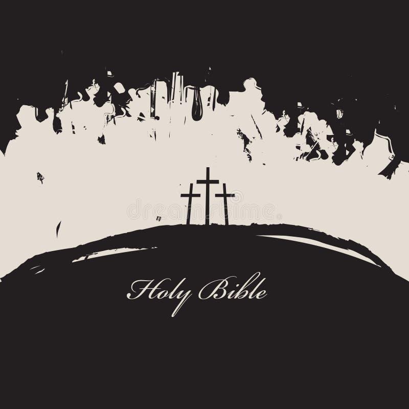 Trzy krzyża i inskrypci świętej biblia ilustracja wektor