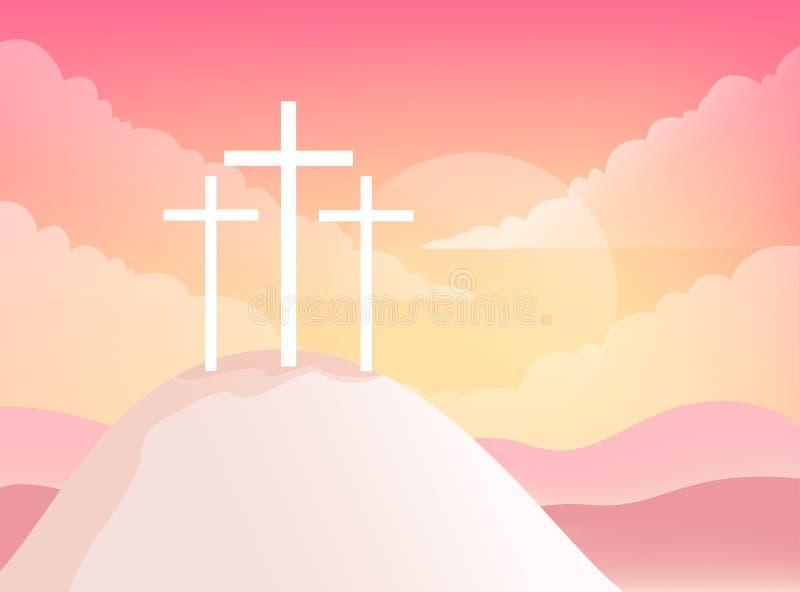 Trzy krzyża na golgoty górze Chrześcijańska Wielkanocna Wektorowa ilustracja royalty ilustracja