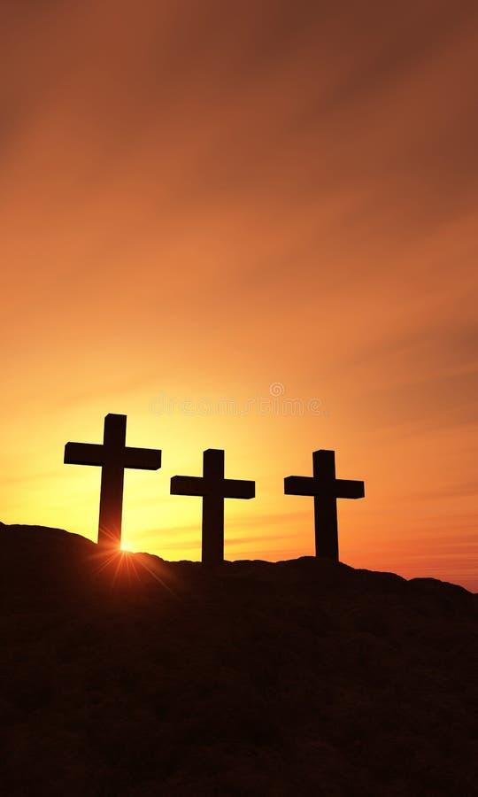 Trzy krzyża przy świtem royalty ilustracja