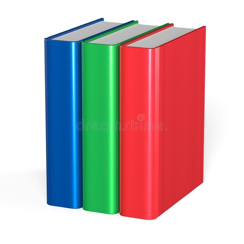 Trzy książek pusta pokrywa stoi 3 podręczników workbook ilustracji