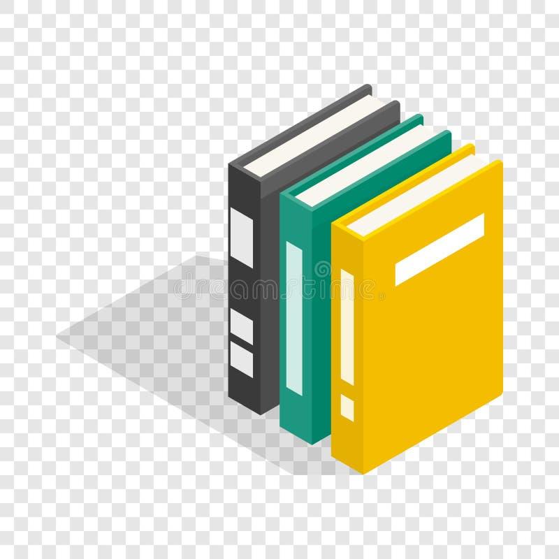Trzy książki encyklopedii isometric ikona ilustracji