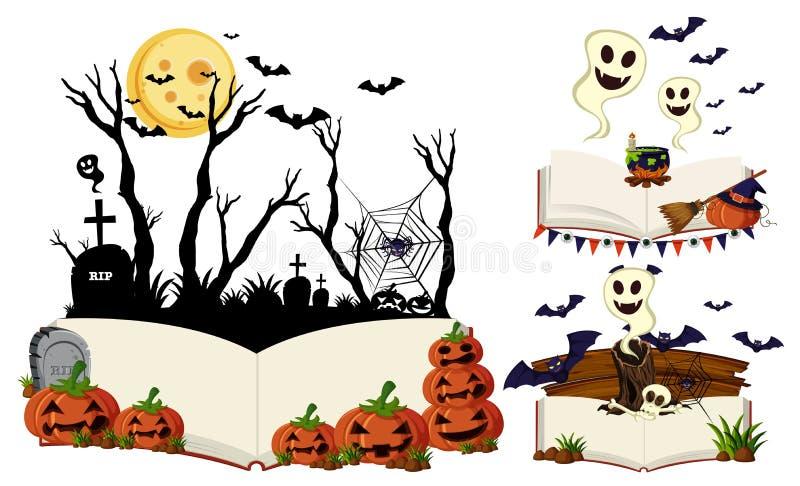 Trzy książki z Halloween scenami ilustracja wektor