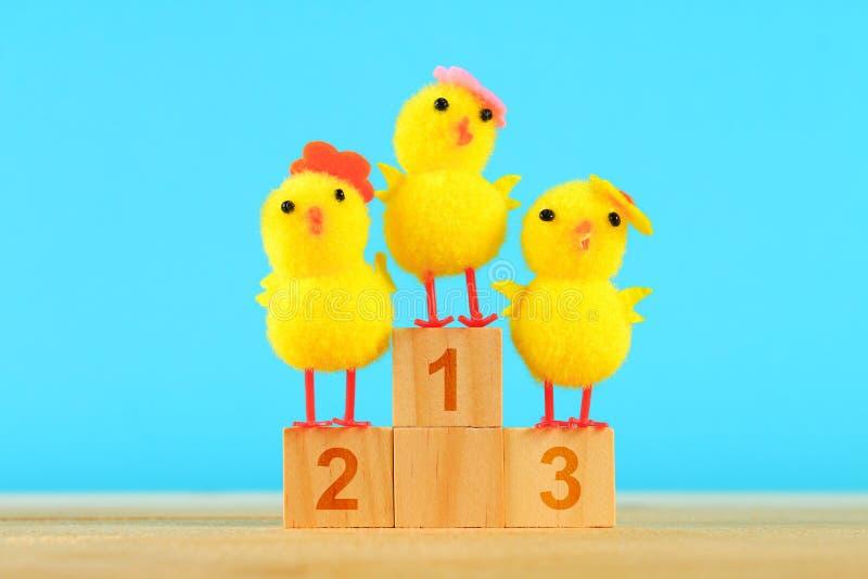 Trzy kurczak na piedestale Pierwszy, drugi, i na trzecim miejscu fotografia royalty free