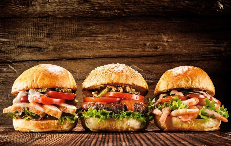 Trzy kurczaka, wołowiny i owoce morza wyśmienicie, hamburgery zdjęcie stock