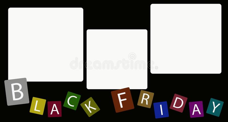 Trzy Kwadratowa etykietka na Black Friday tle ilustracji