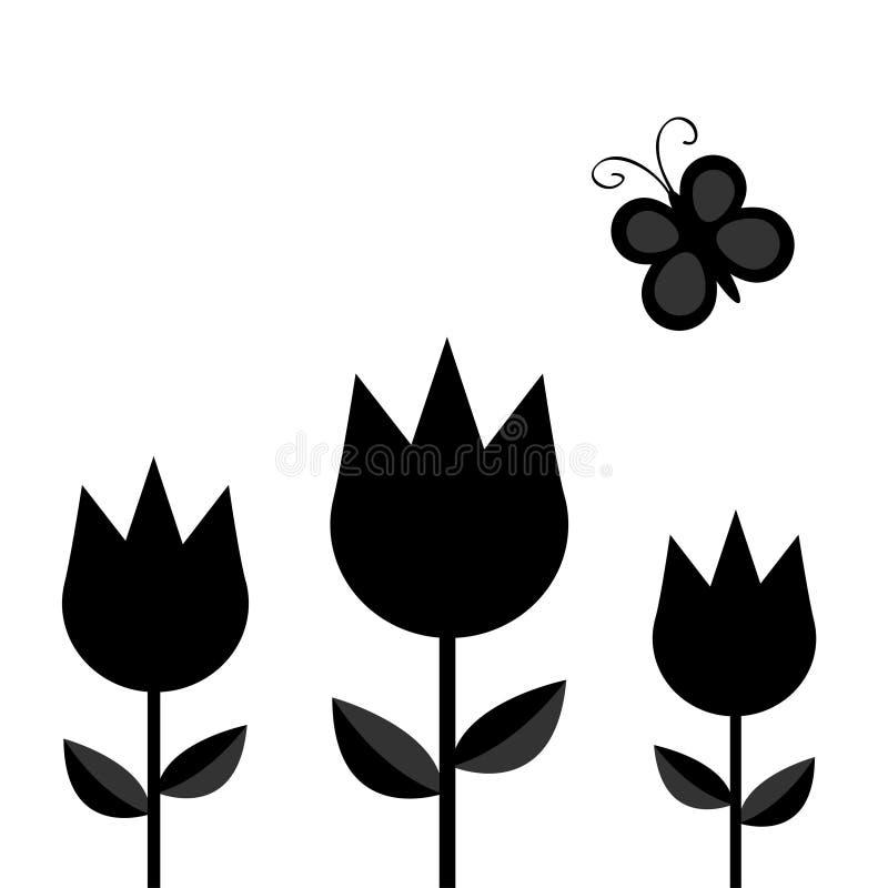 Trzy kwiatu tulipanowy set z liścia i latania insekta czerni sylwetki motylim kształtem tworzy Prosty majcheru szablon Kwiecista  royalty ilustracja