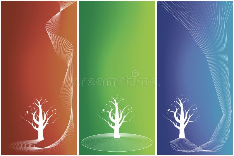 trzy kwiecista drzew w tle wersji ilustracji