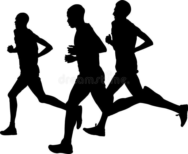 Trzy lidera mężczyzna biegacza biega sporta maraton royalty ilustracja