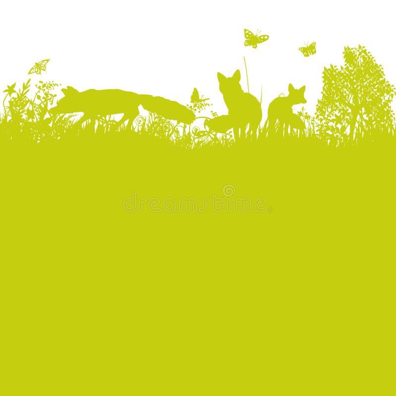 Trzy lisa w łące ilustracja wektor