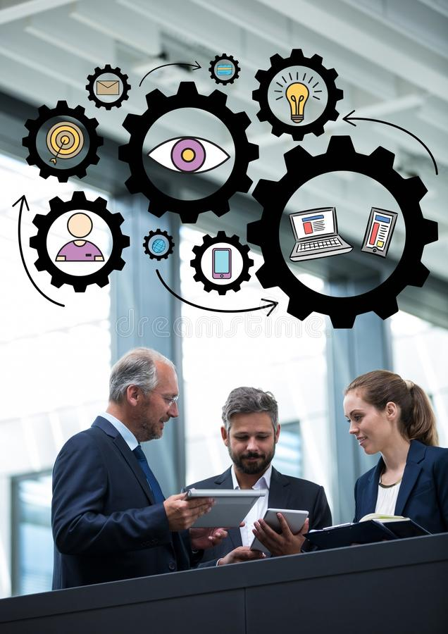 Trzy ludzie biznesu z przyrządami pod czarnymi przekładni grafika ilustracja wektor
