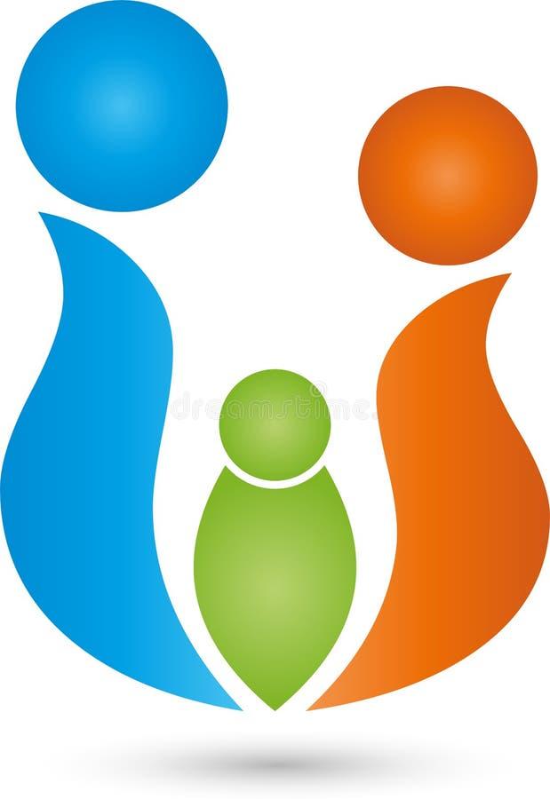 Trzy ludzie wpólnie, rodziny i grupy, logo ilustracji