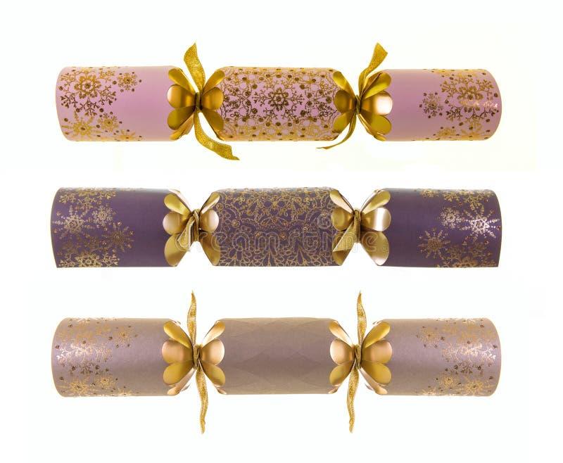 Trzy Luksusowego Bożenarodzeniowego krakersa obrazy royalty free