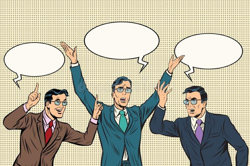 Trzy mówcy, gestów biznesmeni ilustracja wektor