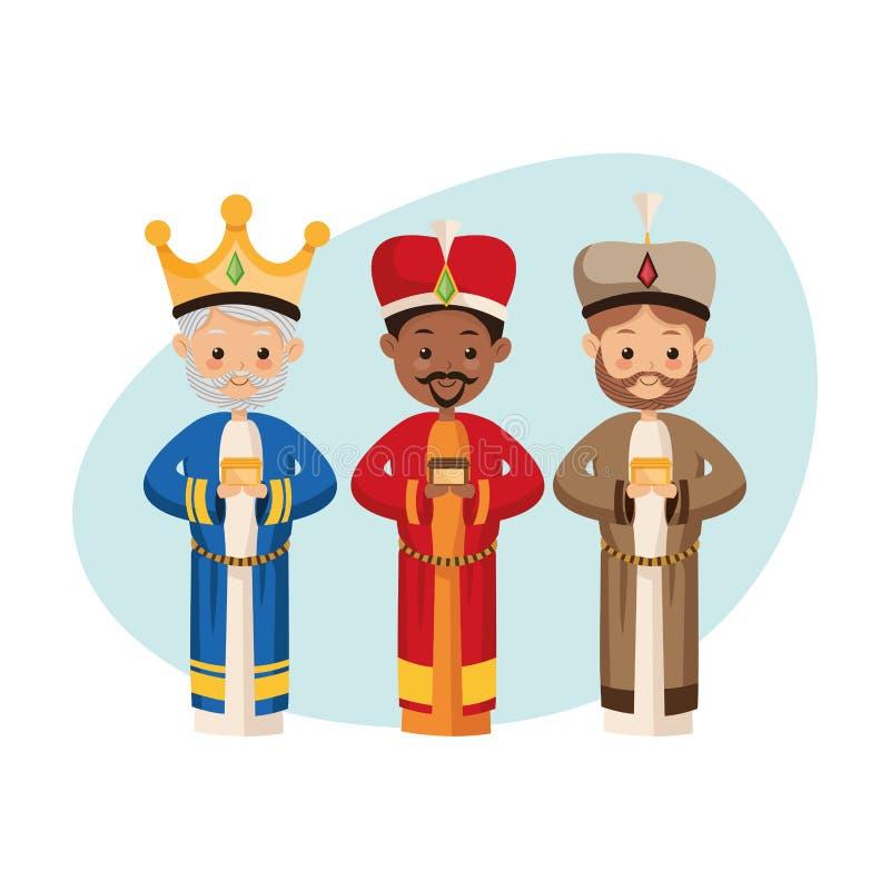 Trzy mędrzec ikona Wesoło bożych narodzeń projekt gdy dekoracyjna tło grafika stylizował wektorowe zawijas fala royalty ilustracja