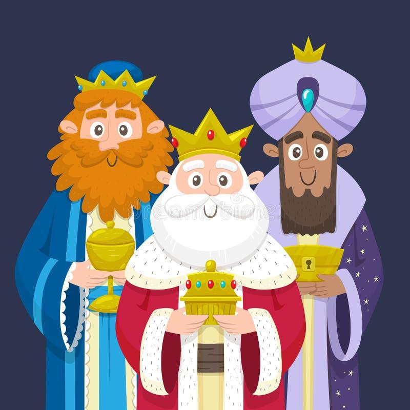 Trzy mędrzec trzy królewiątka Ukierunkowywałem portret ilustracja wektor