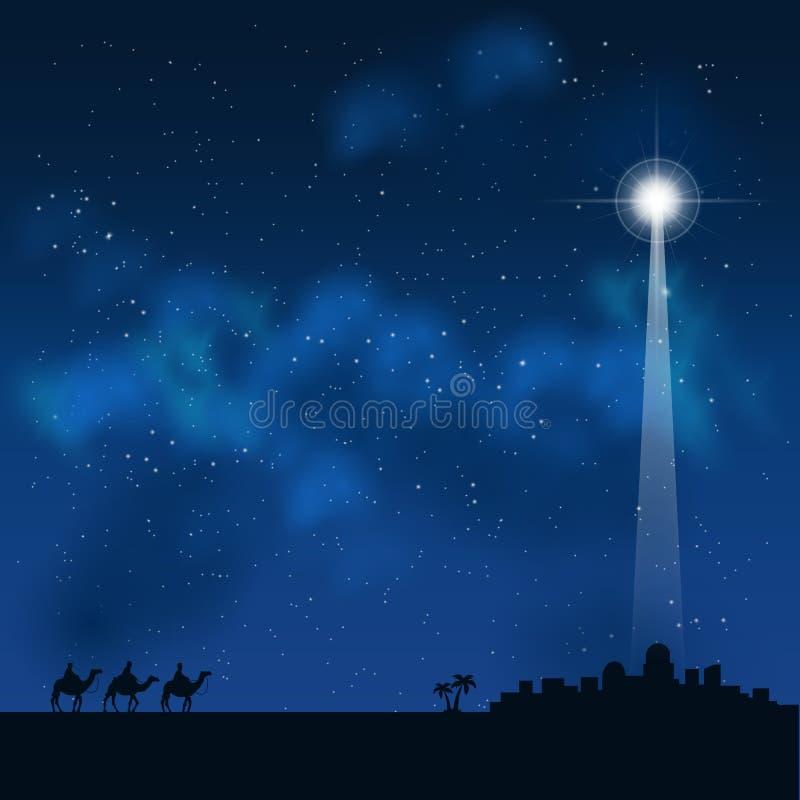 Trzy mędrzec na sposobie widzieć dziecka Jezus w Betlejem ilustracja wektor
