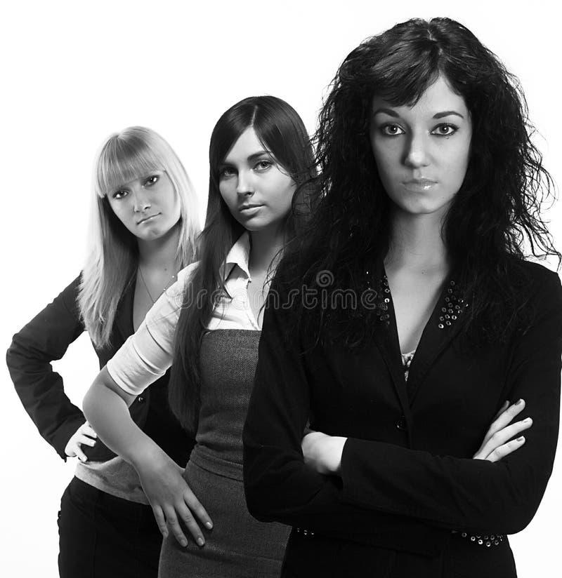 Trzy młodej pomyślnej biznesowej kobiety fotografia stock
