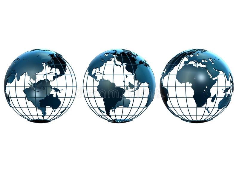 trzy małe globusy royalty ilustracja