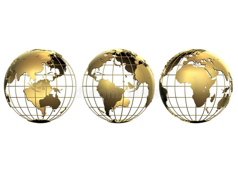 trzy małe globusy ilustracja wektor
