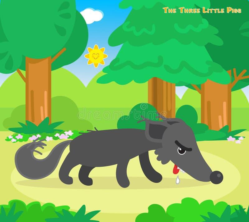 Trzy małej świni 11: głodny wilk ilustracji