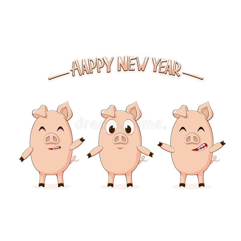 Trzy małej świni i pisać list Szczęśliwego nowego roku royalty ilustracja