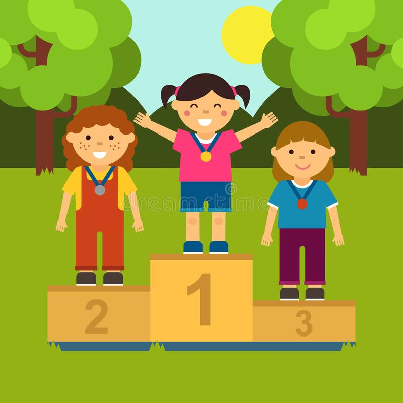 Trzy małej dziewczynki na piedestale Ilustracja ceremonia nagradzać medale w kreskówka stylu ilustracji