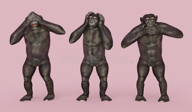 trzy małpy mądrych ilustracji