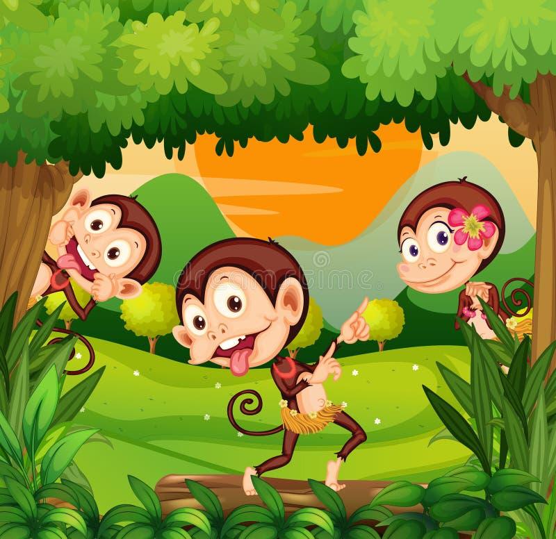 Trzy małpy tanczy w lesie ilustracja wektor