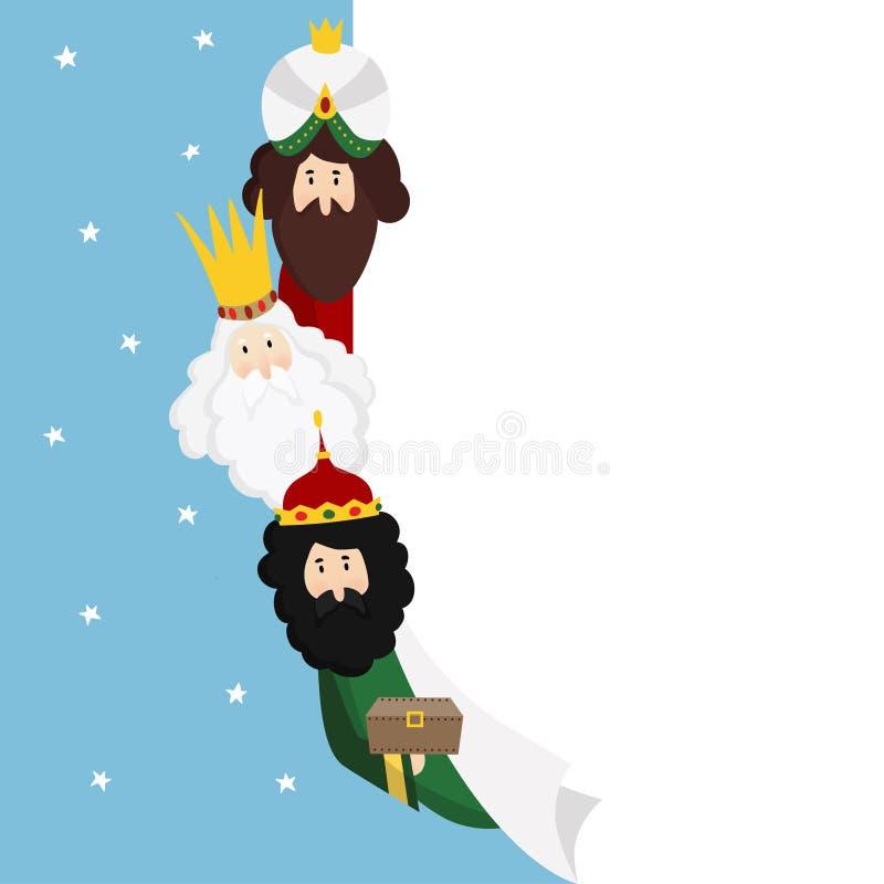 trzy magi Biblijni królewiątka Caspar, Melchior i Balthazar, Bożenarodzeniowy wektorowy ilustracyjny tło, sieć sztandar dla royalty ilustracja