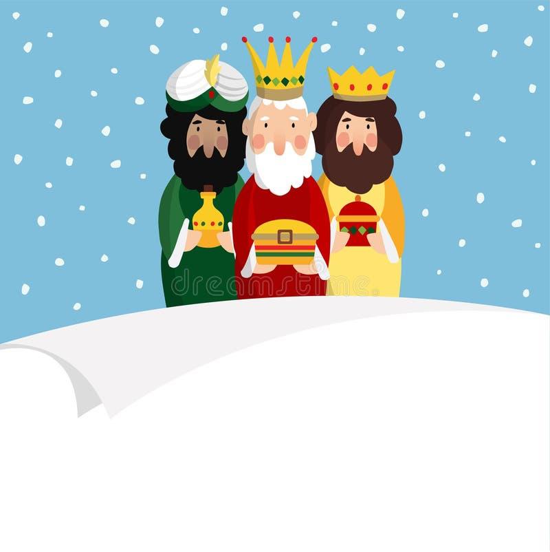 trzy magi Biblijni królewiątka Caspar, Melchior i Balthazar, Wektorowy ilustracyjny tło, sieć sztandar dla hiszpańszczyzny Dia ilustracja wektor