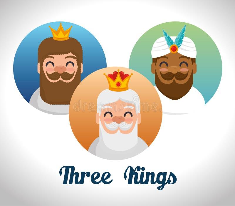 Trzy magicznego królewiątka ukierunkowywają kreskówki ilustracja wektor