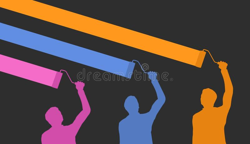 Trzy malarza ilustracji