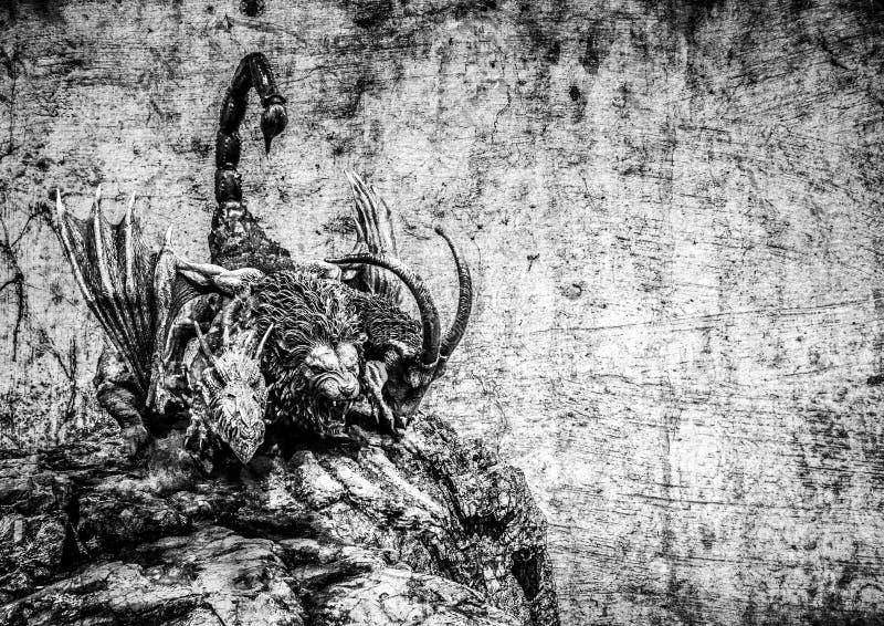 Trzy manticore głowiasty potwór obraz stock