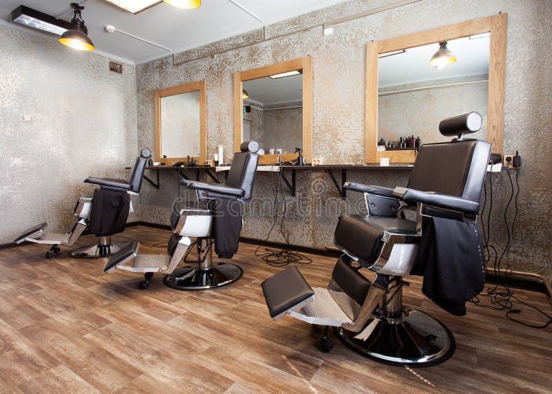 Trzy miejsca pracy dla fryzjerów męskich fotografia stock