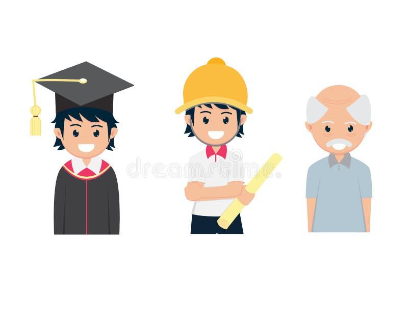 Trzy mieszkań kreskówka Kończył studia od szkoły wyższej inżynierii starego człowieka I pracy ilustracji