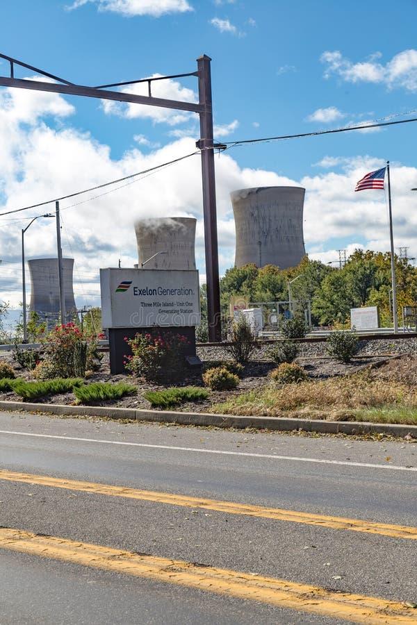 Trzy Mile Island energa jądrowa Wywołującej rośliny znak obrazy royalty free