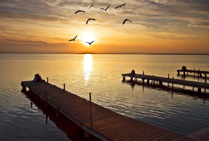 Trzy mola na jeziorze obraz royalty free
