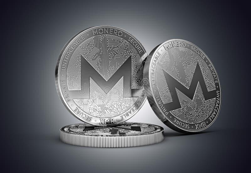 Trzy Monero cryptocurrency pojęcia fizyczna moneta na delikatnie zaświecającym ciemnym tle ilustracji
