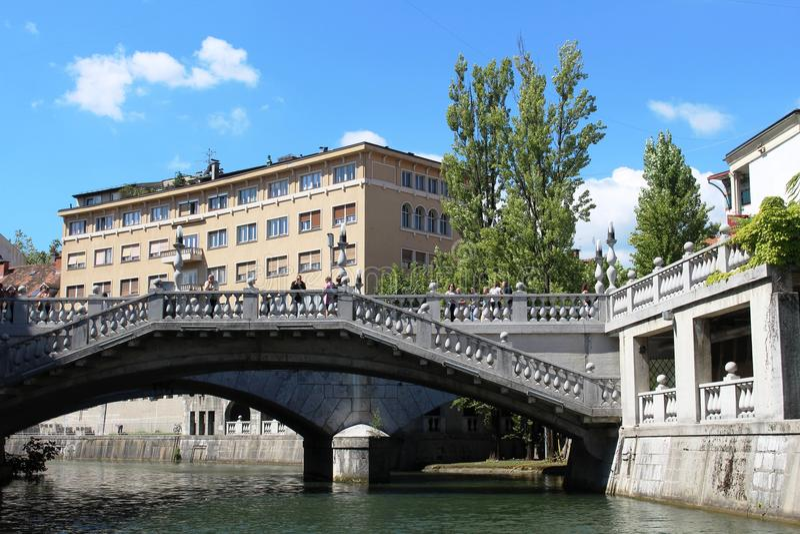 Trzy mosta, Ljubljanica w Ljubljana, Slovenia obraz stock