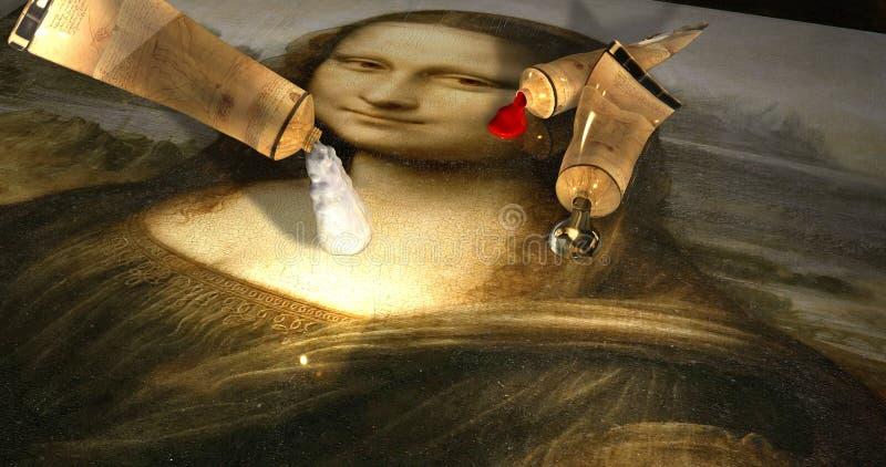 Trzy nafcianej tubki kapie farbę nad obrazkiem Mona Lisa, Gioconda/Leonardo Da Vinci ilustracja wektor