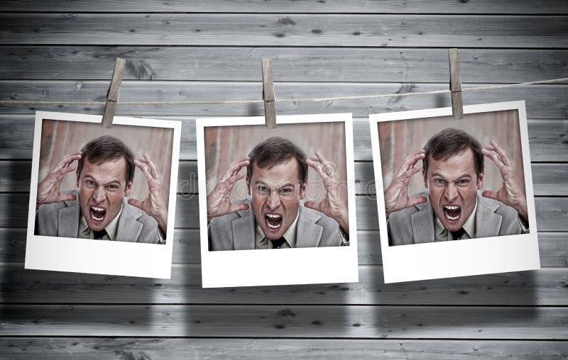 Trzy natychmiastowej fotografii gniewny biznesmen obraz royalty free