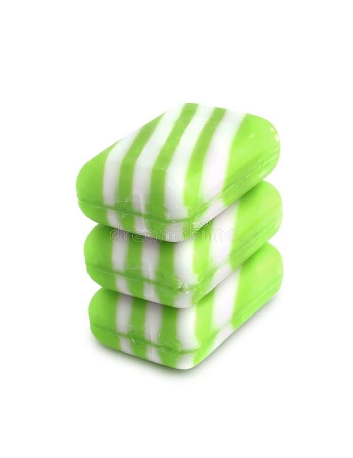 Trzy nowego koloru mydła baru na białym tle obraz stock