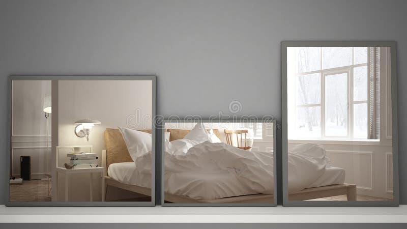 Trzy nowożytnego lustra na półce lub biurku odbija wewnętrznego projekta scenę, scandinavian klasyczna sypialnia, minimalistyczny zdjęcia royalty free