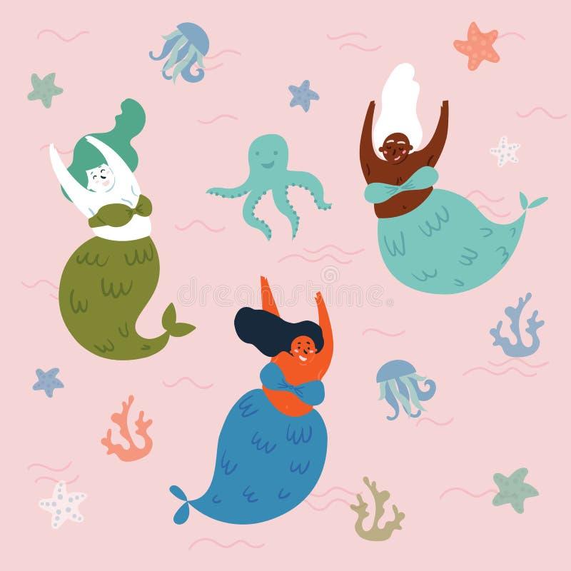 Trzy ośmiornicy w wodzie i syrenki podwodny ilustracji