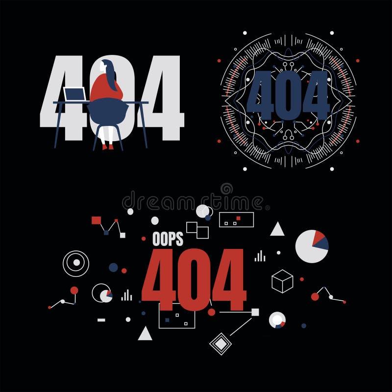 Trzy obrazka dla strony 404 używa geometrycznych kształtów w czerwieni, błękicie i szarość, obrazy stock